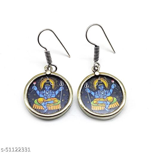 Satyam's Glass Lord Shiva Hand-painted a pair of Earrings Set