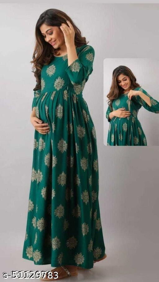 Green Gold Maternity Gown