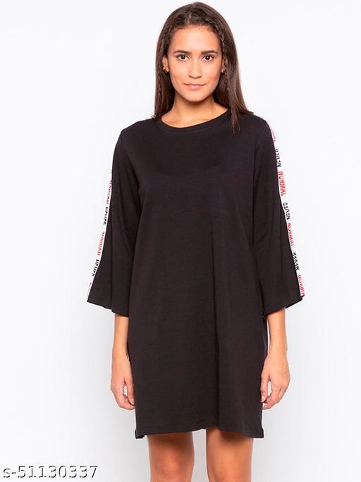 Disrupt Black A-Line Dress For Women'S