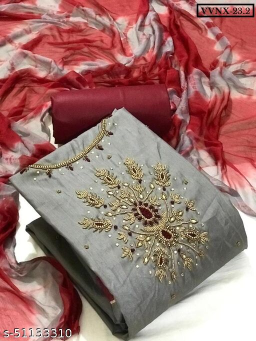 Vrindavrihas Jalbari Silk Dress Material Suit  For Women
