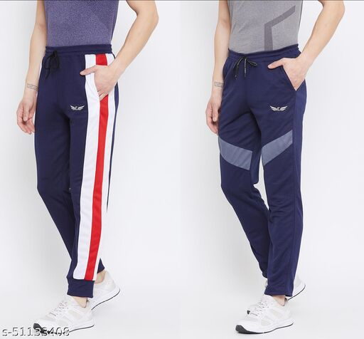 Pack of 2 Color Block Dry Fit Polyster Track Pants