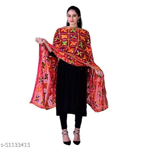 Women's Embroidered Phulkari Chiffon Dupatta