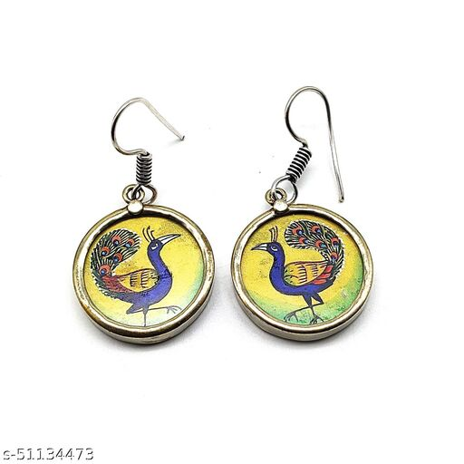 Satyam's Glass Peacock Hand-painted a pair of Earrings Set