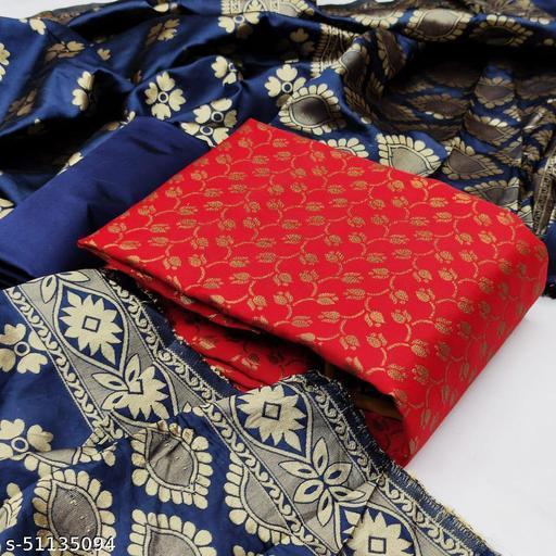 BHAVYA FASHION Women's Jacquard Cotton Silk Unstitched Straight Salwar Suit Dress Material