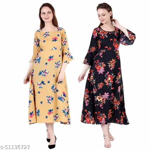 CINDERELLA THE CREATIONS FACTORY A Line Dress with Inner Cotton Lining Mustard Printed and Black Silver Pack of 2