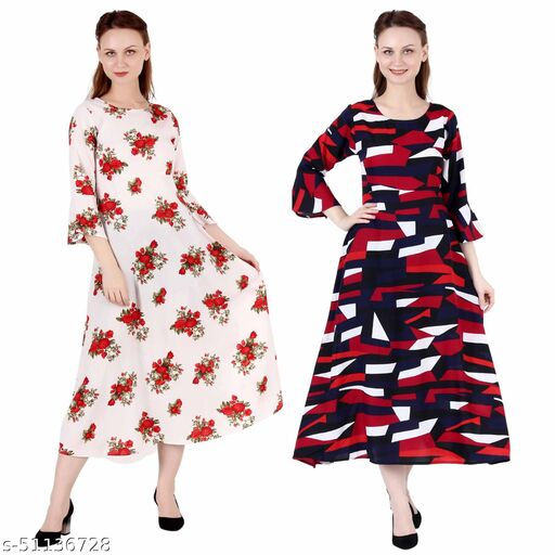 CINDERELLA THE CREATIONS FACTORY A Line Dress with Inner Cotton Lining Cream Printed and Abstract Print Pack of 2