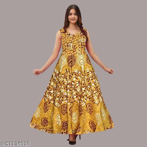AAKARSHANA CREATION Women Sleeveless Cotton Printed Gown Dress