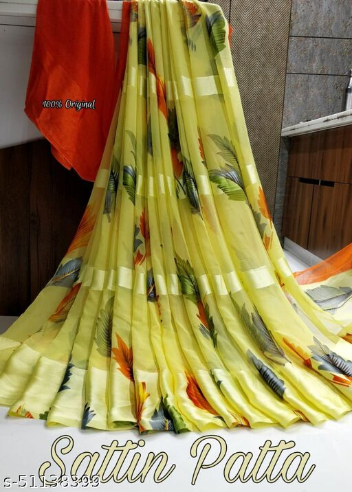 New Design Satin Silk Saree With Running Blouse