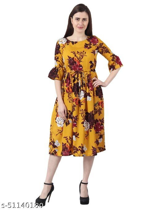 Creation A-Line Knee Lenght Yellow Flower Dress With Belt For Girls