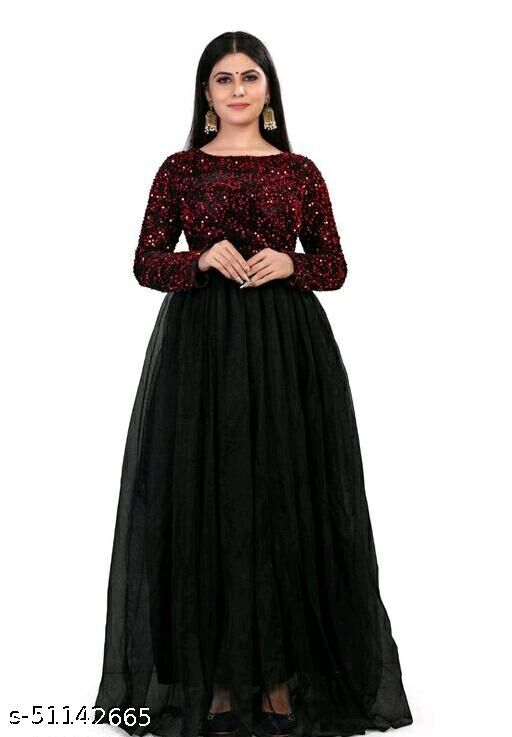 Stylis Fashionable Velvet and Soft Net Women Gown