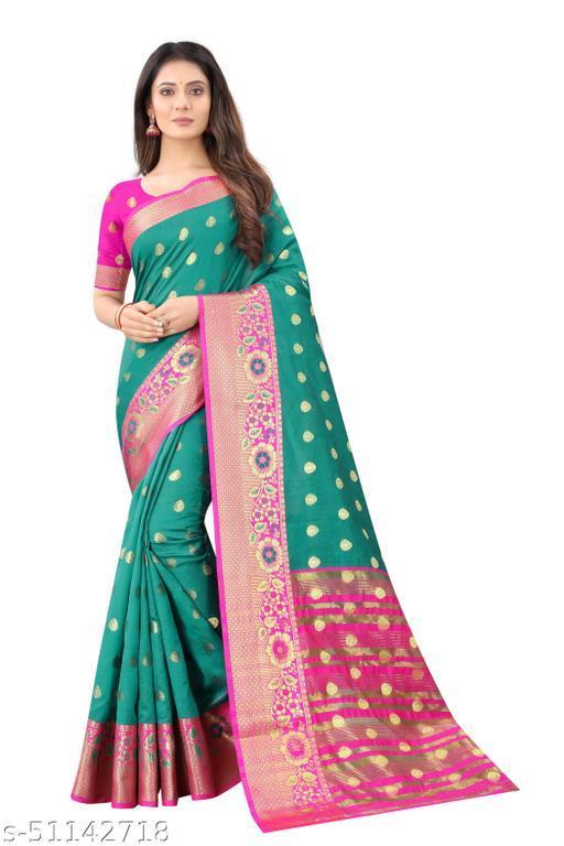 Vinus Fashion Women's Silk Border Saree with Unstitched Blouse Piece