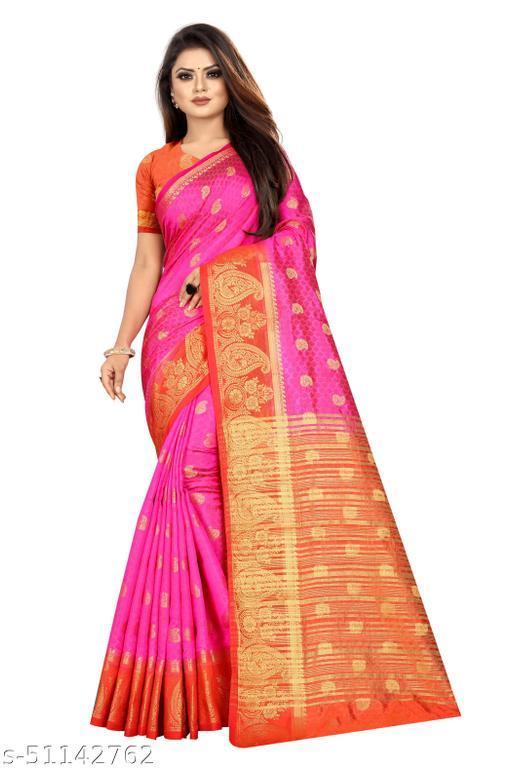 Vinus Fashion Women's Kanjivarm Butta Silk Saree with Unstitched Blouse Piece