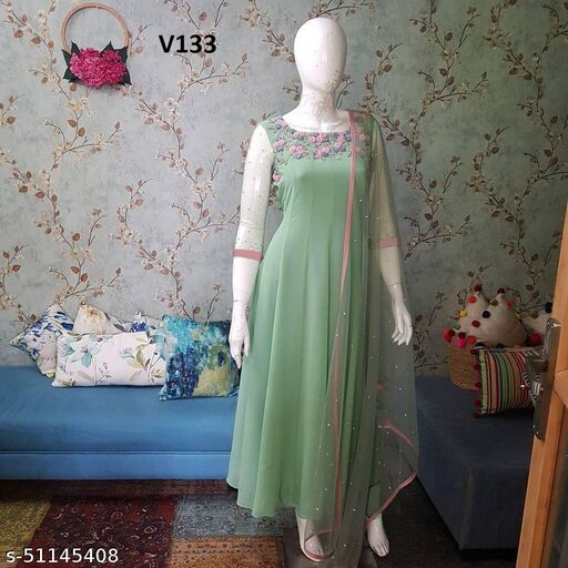 Hot Demanding Pista  Green Colored  Embrodeiry Gown