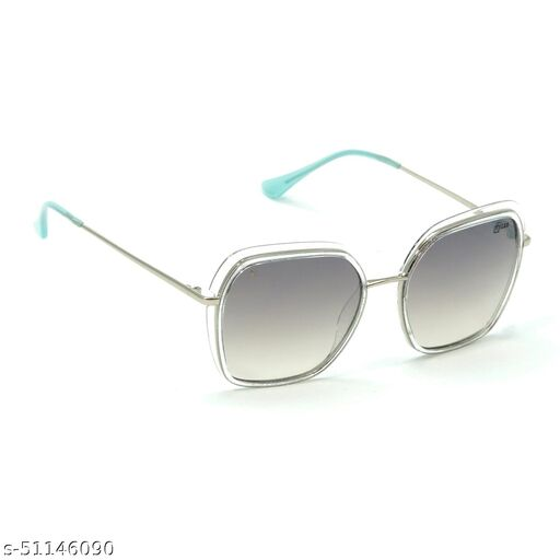 FZ-X-1015-C3 56mm Large Retro Square,Over-sized Clear,Silver Gradient Mirrored Sunglasses for  Women