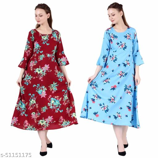 CINDERELLA THE CREATIONS FACTORY A Line Dress with Inner Cotton Lining Maroon Prined and Sky Blue Printed Pack of 2