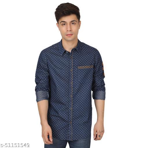 V&V Men's Solid Slim Fit Full Sleeve Cotton Casual Shirt Blue