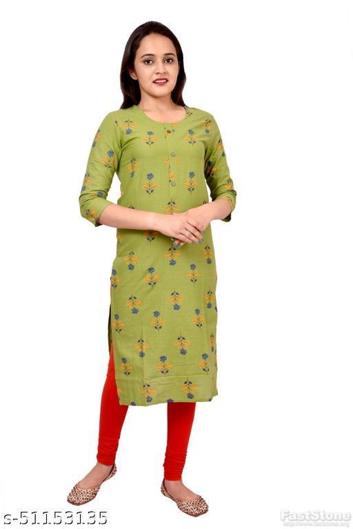 Women's Ethnic Wear Green  Printed Straight Kurti