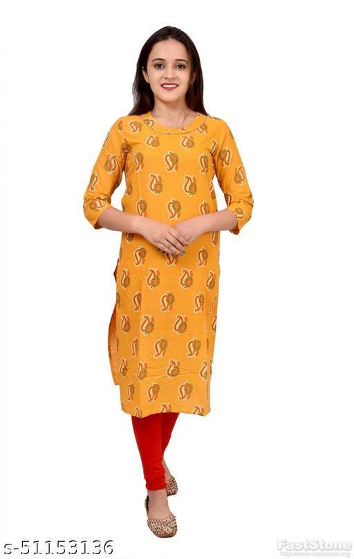 Women's Ethnic Wear Yellow Printed Straight Kurti