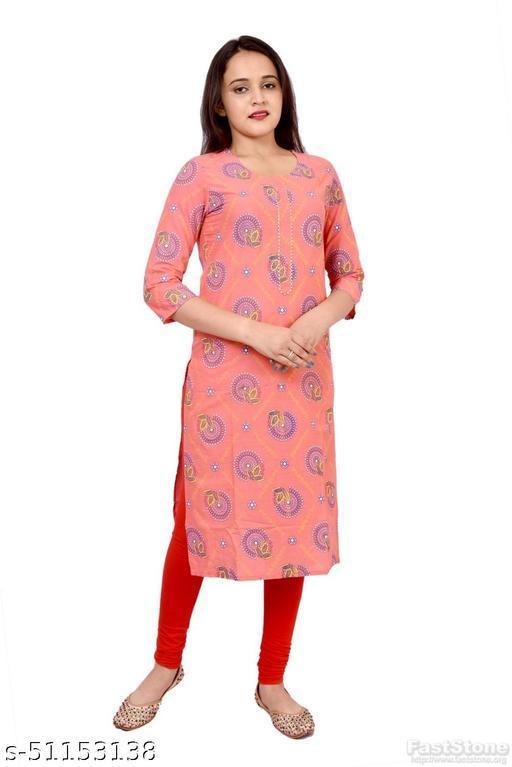 Women's Ethnic Wear Printed Pink Straight Kurti