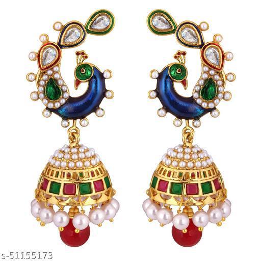 Spargz Peacock Festive Wear Brass Gold Plated Ruby, Kundan & Pearl Dangle & Jhumki Earring For Women