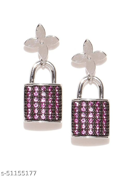 Spargz Lock Party Wear Brass Silver Plated Cubic Zirconia Dangle Earring For Women