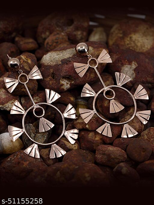Spargz Statement Brass Rose Gold Plated Dangle Earring For Women