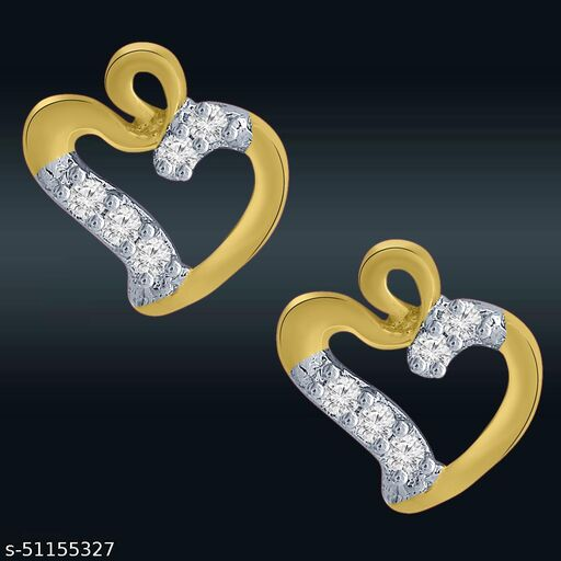 Spargz Heart Design Gold Plated Cz Stud Earring For Women