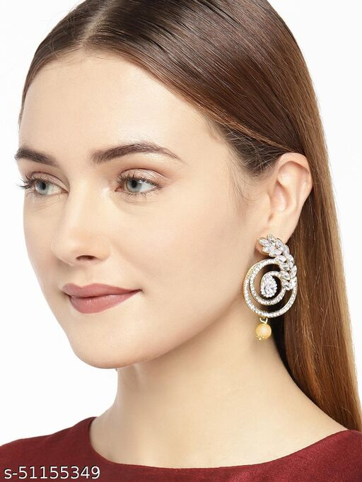 Spargz Galaxy Leaf Gold Plated Ad Dangle Earring For Women