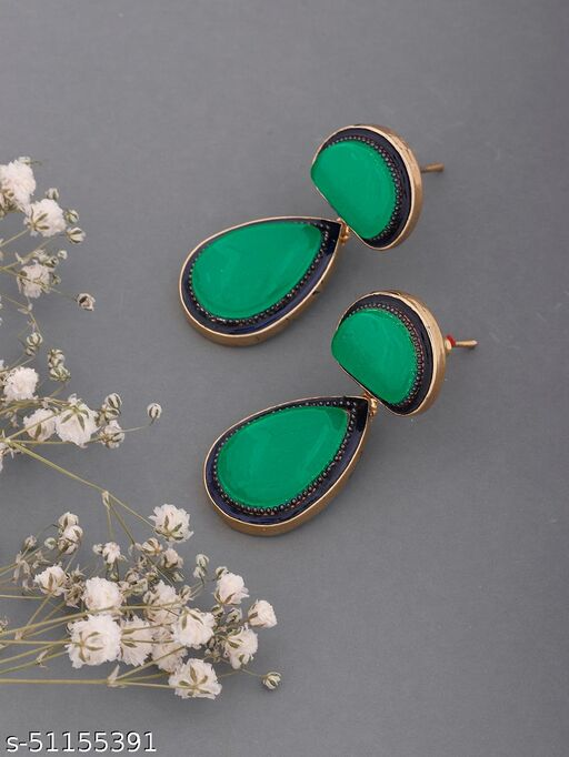 Spargz Contemporary Brass Daily Wear Gold Plated Synthetic Stone Drop Earring For Women