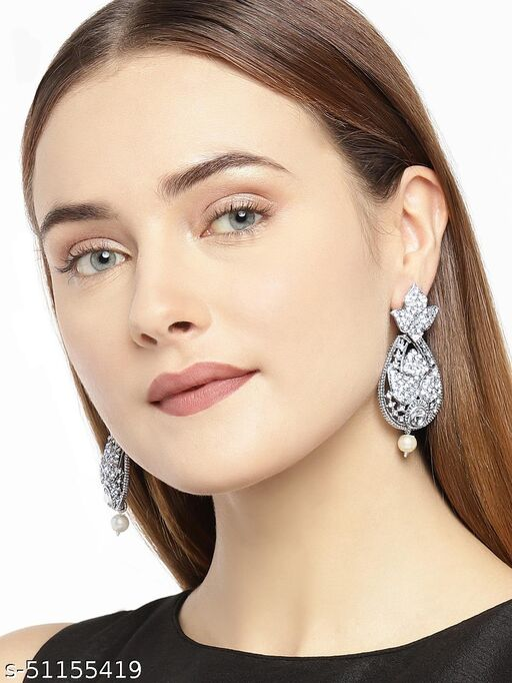 Spargz Leaf Antique Oxidised American Diamond Dangle Earring For Women