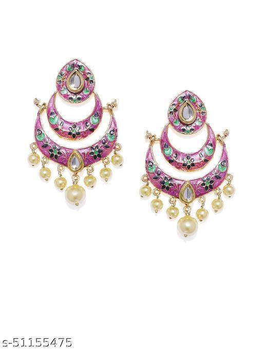 Spargz Multicolor Meenakari Festive Wear Gold Plated Kundan & Pearl Chand Bali Earring For Women