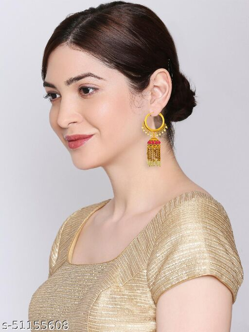 Spargz Traditional Brass Festive Wear Gold Plated Synthetic Stone & Pearl Jhumki Earring For Women