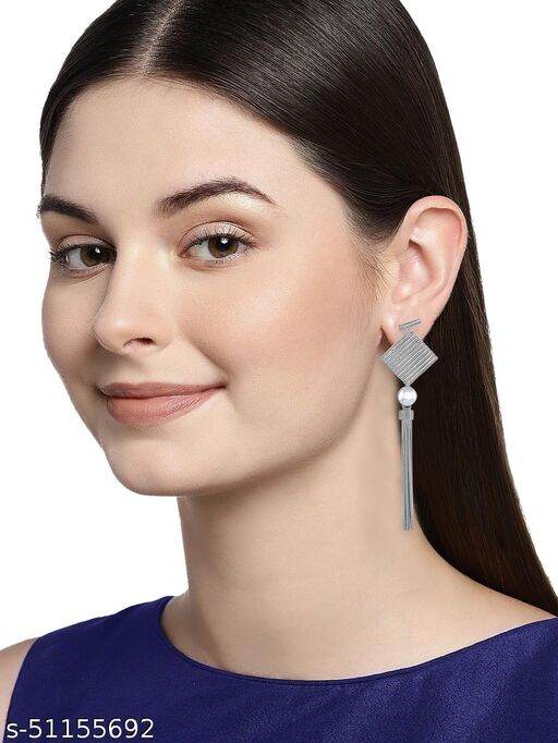 Spargz Statement Brass Rhodium Plated Synthetic Stone Dangle Earring For Women