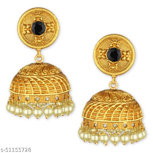 Spargz Latkan Pearl Round Gold Plated Ruby Jhumki Earring For Women