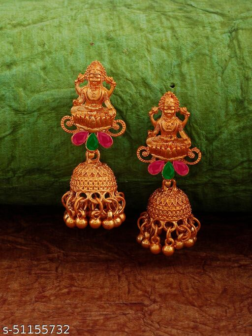 Spargz Laxmi Alloy Daily Wear Gold Plated Synthetic Stone Jhumki Earring For Women