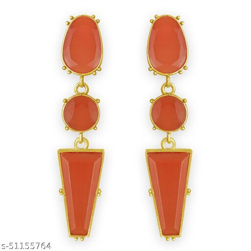 Spargz Contemporary Party Wear Gold Plated Synthetic Stone Dangle Earring For Women