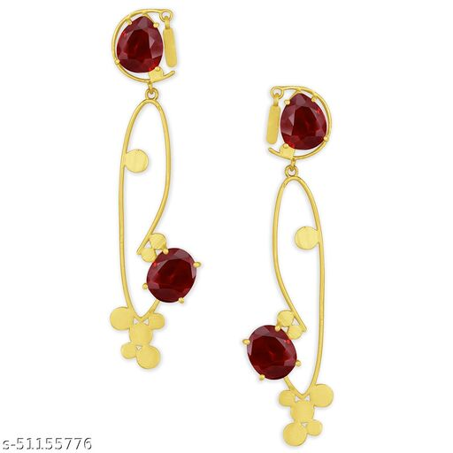 Spargz Trendy Party Wear Gold Plated Synthetic Stone Dangle Earring For Women