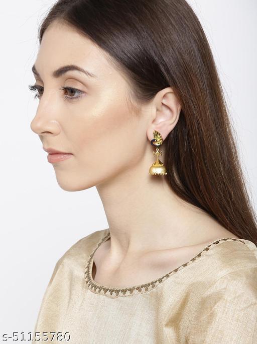 Spargz Peacock Brass Festive Wear Gold Plated Earring For Women