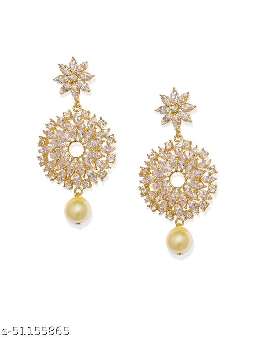 Spargz Floral Festive Wear Gold Plated Ruby & Pearl Dangle Earring For Women