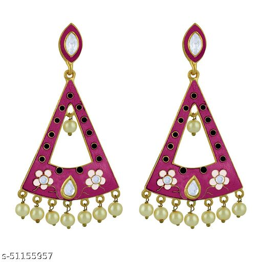 Spargz Traditional Festive Gold Plated AD Stone & Pearl Dangle Earring For Women