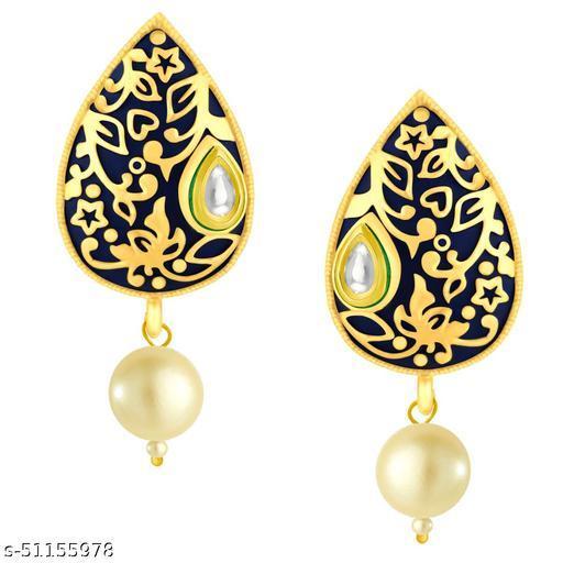 Spargz Enamel Festive Gold Plated Kundan & Pearl Tops Earring For Women
