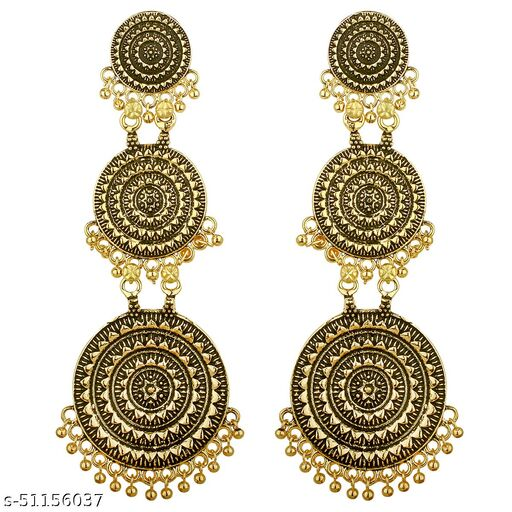 Spargz Antique Round Festive Wear Gold Plated Dangle Earring For Women