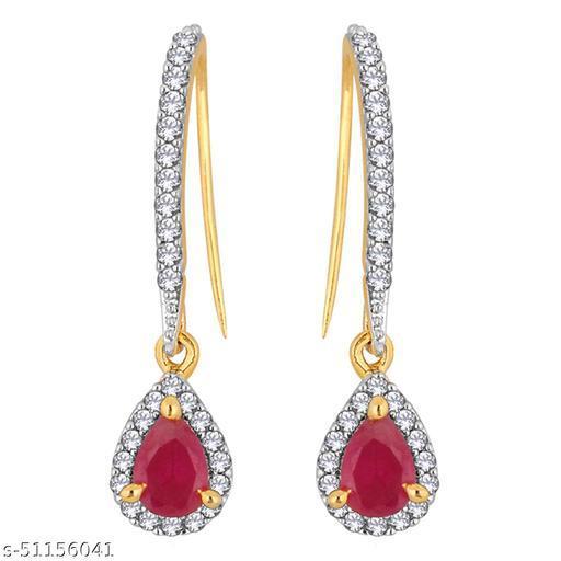 Spargz Designer Festive Wear Brass Gold Plated Cubic Zirconia & Ruby Dangle Earring For Women