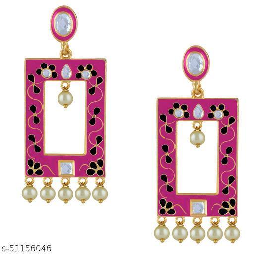 Spargz Meenakari Festive Gold Plated AD Stone & Pearl Dangle Earring For Women