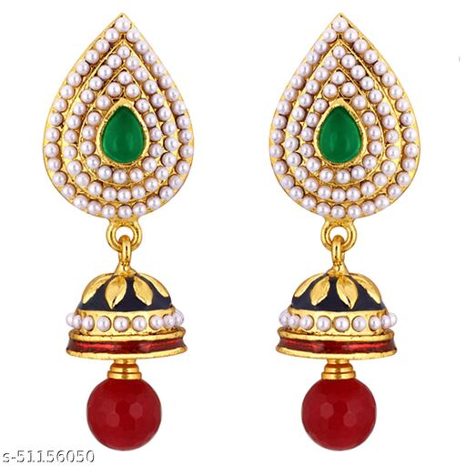 Spargz Traditional Festive Wear Brass Gold Plated Synthetic Stone & Pearl Dangle & Jhumki Earring For Women