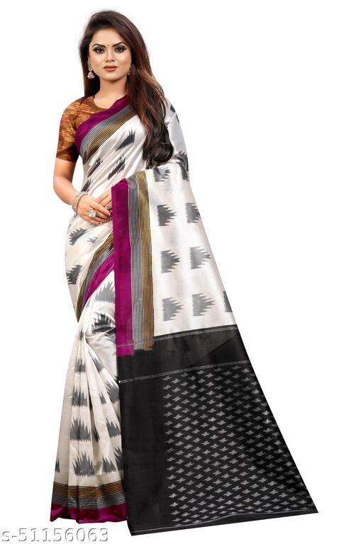 SHREE CLOTHING Women's Ikkat Silk Saree with Unstitched Blouse Piece