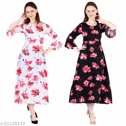 CINDERELLA THE CREATIONS FACTORY A Line Dress with Inner Cotton Lining White Printed and Black Pink Flower Printed Pack of 2