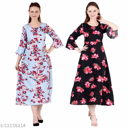 CINDERELLA THE CREATIONS FACTORY A Line Dress with Inner Cotton Lining Light Blue Printed and Black Pink Flower Printed Pack of 2