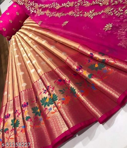 RED CLOUD HALF SAREE LEHGHA CHOLI(Pure tissue paitani weaving Lehangas ,with contrast blouse and contrast cut work voni)