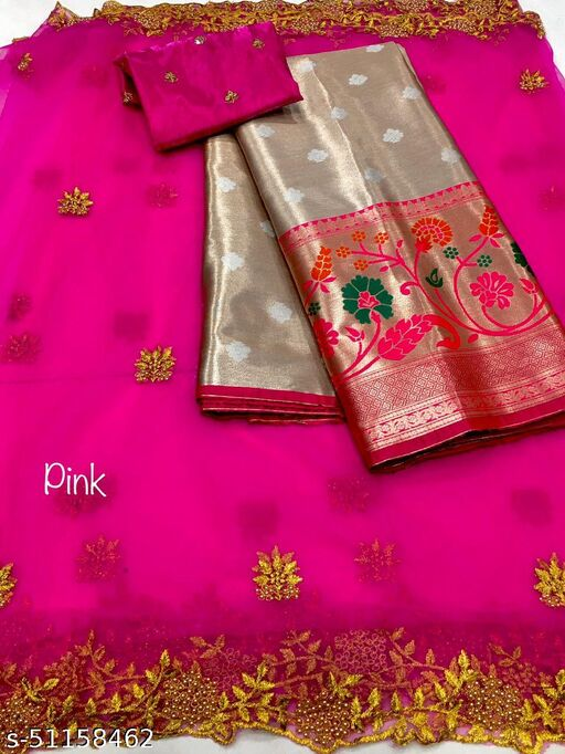 VAIDRAJ NEW HALF SAREE LEHGHA CHOLI(Pure tissue paitani weaving Lehangas ,with contrast blouse and contrast cut work voni)